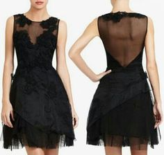 Black mesh, tulle, and lace black semi formal dress this is perfect i need something to cover my back i love this