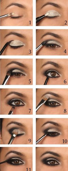 10 heißesten Smokey Eyes Make-up-Ideen . - Anne Cocuk - Decor - Make Up - Jewelry - Hairstyles - Interior Design Eyeshadow Makeup, Makeup Brushes, Kohl Eyeliner, Pink Eyeshadow, Eyeshadow Palette, Smokey Eyeliner, Colorful Eyeshadow, Maybelline Makeup, White Eyeliner