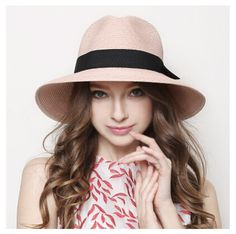 a4974fa3666b3 Summer straw hat for women bow hatband panama hats UV package