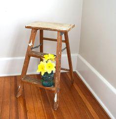 Step Stool, Kitchen Stool Shabby Chic, Wood Stool,  Wood Ladder, Step Ladder by oldgoatandhorse on Etsy