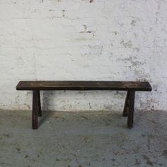 Rustic Dark Wood Pig Bench Longer Length