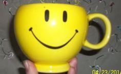 Smiley Happy Face Coffee Mug Vintage Cup Yellow Teleflora Gift Planter Soup