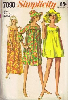 Vintage 60s Mod Floppy Hat and Tent MuuMuu Beach Dress Sewing Pattern Simplicity 7090  3 Lengths Beach Cover Up, Hostess Gown, Patio Dress UNCUT Bust 36
