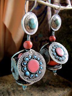 Afghan Turkmen tribal jewelry - silver earrings, coral, turquoise