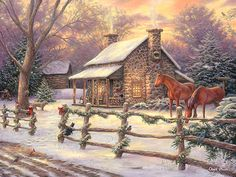 Stone House Painting, Horses Art, Painting of Stone Cabin, Christmas Home Art, Horse Painting, Old Countryside Home in the Snow-3752