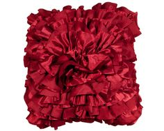 Satin Red Ruffle Cushion and perfect for Scatter Cushions, Floor Cushions, Gifts For Mum, Soft Furnishings, Contemporary Furniture, Color Splash, Cosy, Home Accessories, Ruffle Blouse