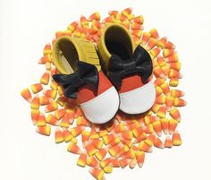 Candy Corn Moccasins. Fringe Moccs. Bow Moccs. Halloween. Angel Baby Moccasins. Toddler Footwear. Baby Fashion. Toddler Fashion