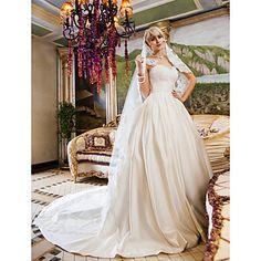 Ball+Gown+Petite+/+Plus+Sizes+Wedding+Dress-Ivory+Chapel+Train+Queen+Anne+Lace+/+Satin+–+USD+$+139.99