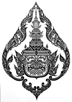 Grayscale Image, Thai Tattoo, Guns And Roses, Thai Art, Game Logo, Sleeve Tattoos, Geometry, Vector Free, Stencils