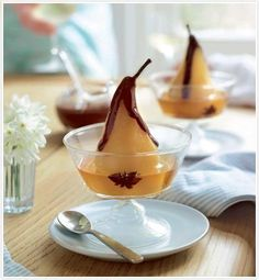 PEAR WITH CHOCOLATE SAUCE ⇨ Follow City Girl at link https://www.pinterest.com/citygirlpideas/ for great pins and recipes!  ☕