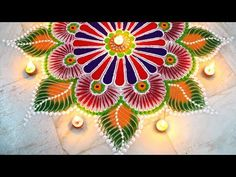 Beautiful and innovative semi-circle rangoli design | Diwali special rangoli design by Poonam Borkar - YouTube