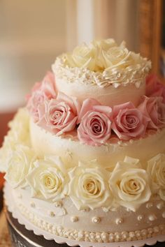 Rose Wedding Cake ~ would use a brighter pink