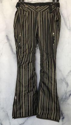 327fd06dcb2921 Holden Women s Black Green Striped Skinny Fit Flare Ski Snowboard Pants Sz S