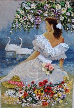 Wonderful Ribbon Embroidery Flowers by Hand Ideas. Enchanting Ribbon Embroidery Flowers by Hand Ideas. Silk Ribbon Embroidery, Embroidery Art, Embroidery Stitches, Embroidery Patterns, Cross Stitch Patterns, Ribbon Art, Ribbon Crafts, Image Nature, Brazilian Embroidery
