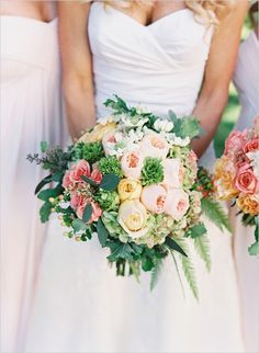 pink yellow and green wedding bouquet #bridalbouquet #mixedbouquet #weddingchicks http://www.weddingchicks.com/2014/03/20/elegant-wedding-at-the-legare-house/