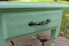 mod podge a piece of lace onto furniture you redo! so cute!