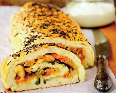 Potato Roll with Vegetable Filling Cooking Recipes, Healthy Recipes, Quiches, Bagel, Clean Eating, Dinner Recipes, Potatoes, Tasty, Bread