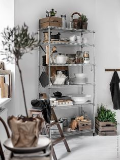 22 Simple Kitchen Organization Ideas for Spruce Up All Kinds of Utensils and Equipments Kitchen Rack, Kitchen Dining, Kitchen Decor, Kitchen Utensils, Kitchen Tools, Metal Kitchen Shelves, Kitchen Supplies, Kitchen Cabinets, Hektar Ikea