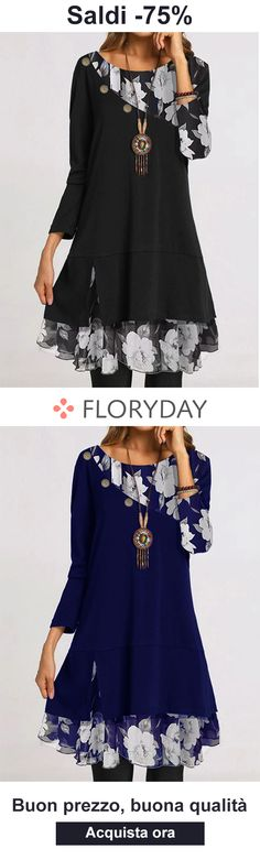 Abiti floreali che ti rendono speciale! Floryday Dresses, Dresses For Work, Party Dress, Bell Sleeve Top, Suits, Blouse, Casual, Shopping, Tops