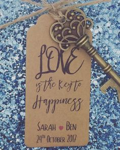 Personalised Skeleton Key Bottle / Beer Opener by GREENFOXYtags quotes for guests Bottle Opener Wedding Favour With Personalised Tags, The Key to Happiness is love Modern Wedding Favors, Inexpensive Wedding Favors, Wedding Favors Cheap, Trendy Wedding, Wedding Ideas, Wedding Inspiration, Perfect Wedding, Rustic Wedding, Wedding Stuff