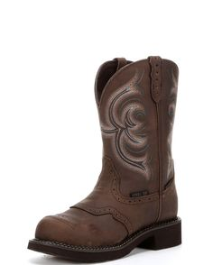 <p></p><div><div>The Aged Bark Waterproof Steel Toe Boot by Justin is a fantastic boot for the work-ready cowgirl. Genuine leather, diamond-cut pull straps, and a round steel toe toe make it great for protecting your feet and looking pretty. The J-Flex system and a removable orthotic insole provide all day comfort. With almost no break in period and a cute stitched design, you won't want to take these off!</div><div><br></div><div>Justin work boots have been known for their durability, ...