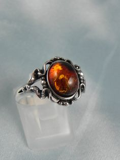 Sterling Baltic Amber Ring by hollywoodrings on Etsy
