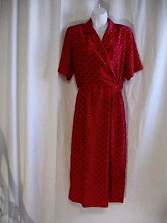 Vintage-Red-Jos-A-Bank-Clothiers-Shirt-Waist-Dress-size-8