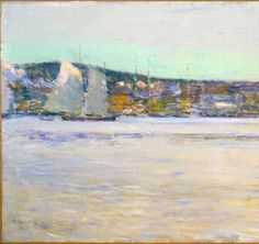 """Gloucester Harbor,"" Childe Hassam, 1894, oil on canvas, 13 3/8 x 25 1/4"", Sheldon Museum of Art."