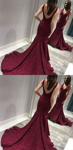 unique burdungy plunging prom dresses, chic backless mermaid evening gowns, elegant v neck sequined party dresses Backless Mermaid Prom Dresses, Sparkly Prom Dresses, Prom Dresses For Teens, Elegant Prom Dresses, Sweet 16 Dresses, Backless Prom Dresses, Formal Dresses For Women, Formal Evening Dresses, Homecoming Dresses