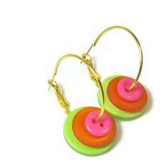 Fun Button #Earrings Neon Jewelry by BluKatDesign on Etsy #BluKatDesign