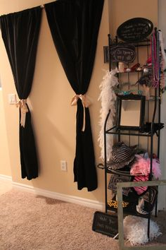 easy, elegant #backdrop idea. #photobooth. curtains are great alternative to picture frame