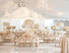 What a better way to celebrate love than with a class. - What a better way to celebrate love than with a classic white wedding reception! All White Wedding, Star Wedding, White Wedding Flowers, Wedding Table, Trendy Wedding, Gold Wedding Theme, Dream Wedding, Luxury Wedding Venues, Wedding Events