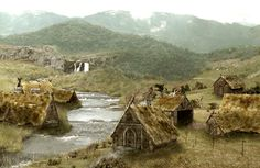 A typical Viking village in ancient Sweden Viking House, Viking Life, Ancient Vikings, Norse Vikings, Vikings Game, Medieval Village, Medieval Houses, Sister Cities, Fantasy Places