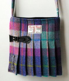 Medium Harris Tweed Kilt Bag in green,blue and pink Tartan handmade on Orkney in…
