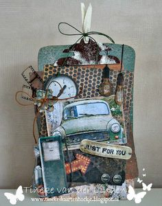 Just for you Handmade Tags, Pocket Letters, Art Journal Pages, Scrapbook Albums, Tim Holtz, Altered Art, Collage, Just For You, Lettering