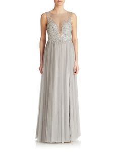 The Prom Shop | Shop All Dresses | Sequined Illusion Front Gown | Lord and Taylor