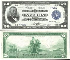 US 50 Dollar Note Series 1918 St. Louis Serial# Signatures: Teehee / Burke Panama between two ships Portrait: Ulysses S. Money Notes, Usa People, Dollar Money, Money Pictures, Silver Eagle Coins, Coin Values, Old Money, Vintage Typography, Old Coins