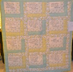 I love the idea of incorporating Scripture into comforting #quilts.