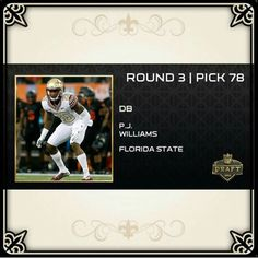 Jerseys NFL Outlet - Round 3 Pick 78....New Orleans Saints P.J. Williams | LOVE MY ...