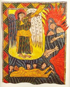"""The Escorial Beatus is a century illuminated manuscript of the Commentary on the Apocalypse by Beatus of Liébana"""" Medieval Life, Medieval Art, Medieval Manuscript, Illuminated Manuscript, Romanesque Art, Renaissance Kunst, Angel Artwork, Medieval Paintings, Byzantine Art"""