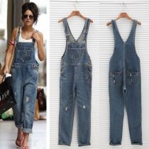 Womens Ladies Baggy Denim Jeans Full Length Pinafore Dungaree Overall Jumpsuit