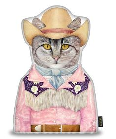 Animal Crew Cowboy Cat Pillow $15.99