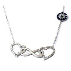 Kalp ve çift sonsuzluk motifli,gümüş bayan kolye