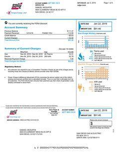 San Diego California Utility Provider Electric Gas Bill Statement Southern Beach Proof Of Address Application Veri Bill Template Utility Bill Bills