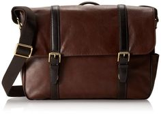 Amazon.com: Fossil Men's Estate Leather East-West Messenger Bag, Cognac: Clothing