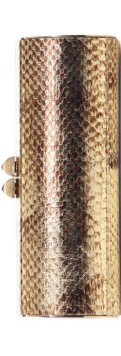 Jimmy Choo Charm Snakeskin Tube Clutch