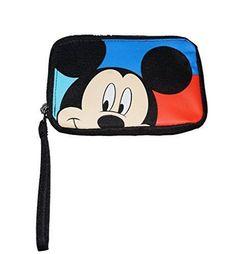 Disney Mickey Mouse Peeking Girls Wristlet Purse - Aqua Blue Red Black