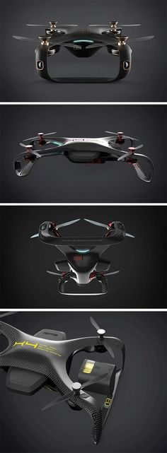 The Racing Drone concept is all about looking badass and slicing through the air with absolute speed. The Racing Drone concept is all about looking badass and slicing through the air with absolute speed. Latest Drone, New Drone, Drone Diy, Futuristisches Design, Yanko Design, Modern Design, Design Ideas, Professional Drone, Flying Drones