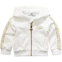 Young Versace Full zip white stretch fleece hoodie ($85) ❤ liked on Polyvore featuring boy clothes and baby clothes