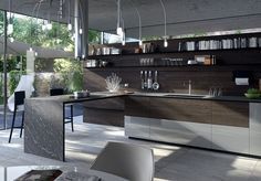 Find out all of the information about the VALCUCINE product: contemporary kitchen / lacquered wood / island / handleless FORMA MENTIS. Kitchen Room Design, Modern Kitchen Design, Home Decor Kitchen, Kitchen Interior, Dream Home Design, House Design, Küchen Design, Interior Design, Functional Kitchen